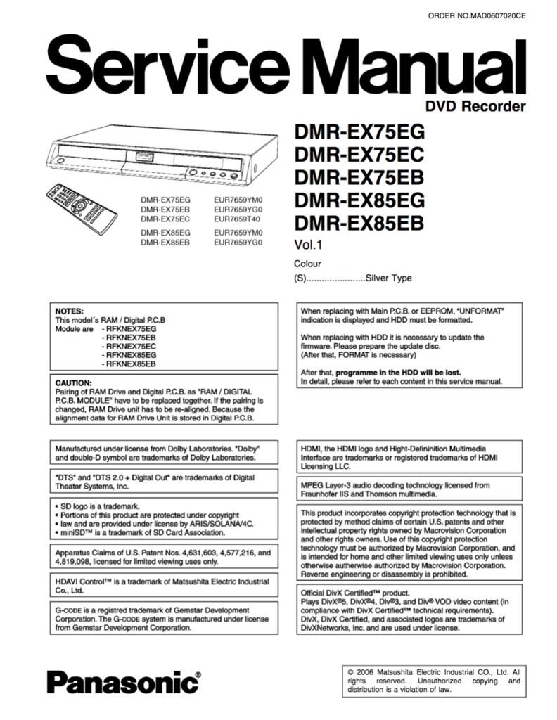 panasonic dmr ex75 dmr ex85 service manual rh pinterest co uk Panasonic Microwave Service Manual Panasonic Microwave Service Manual