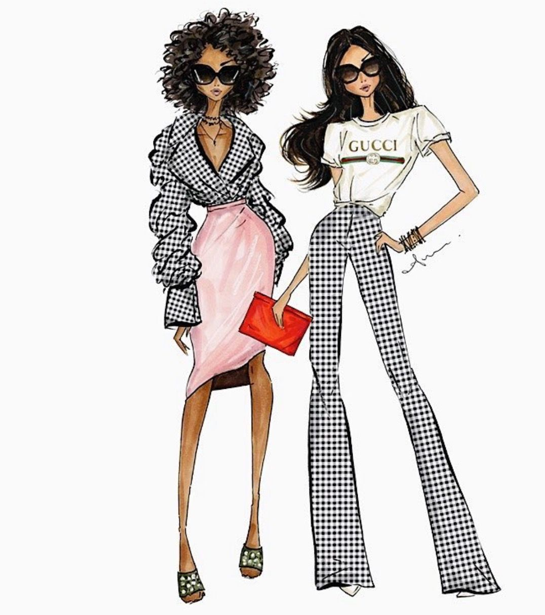 #Gingham @anumt #FashionIllustrations| anumt.etsy.com| Be Inspirational ❥|Mz. Manerz: Being well dressed is a beautiful form of confidence, happiness & politeness