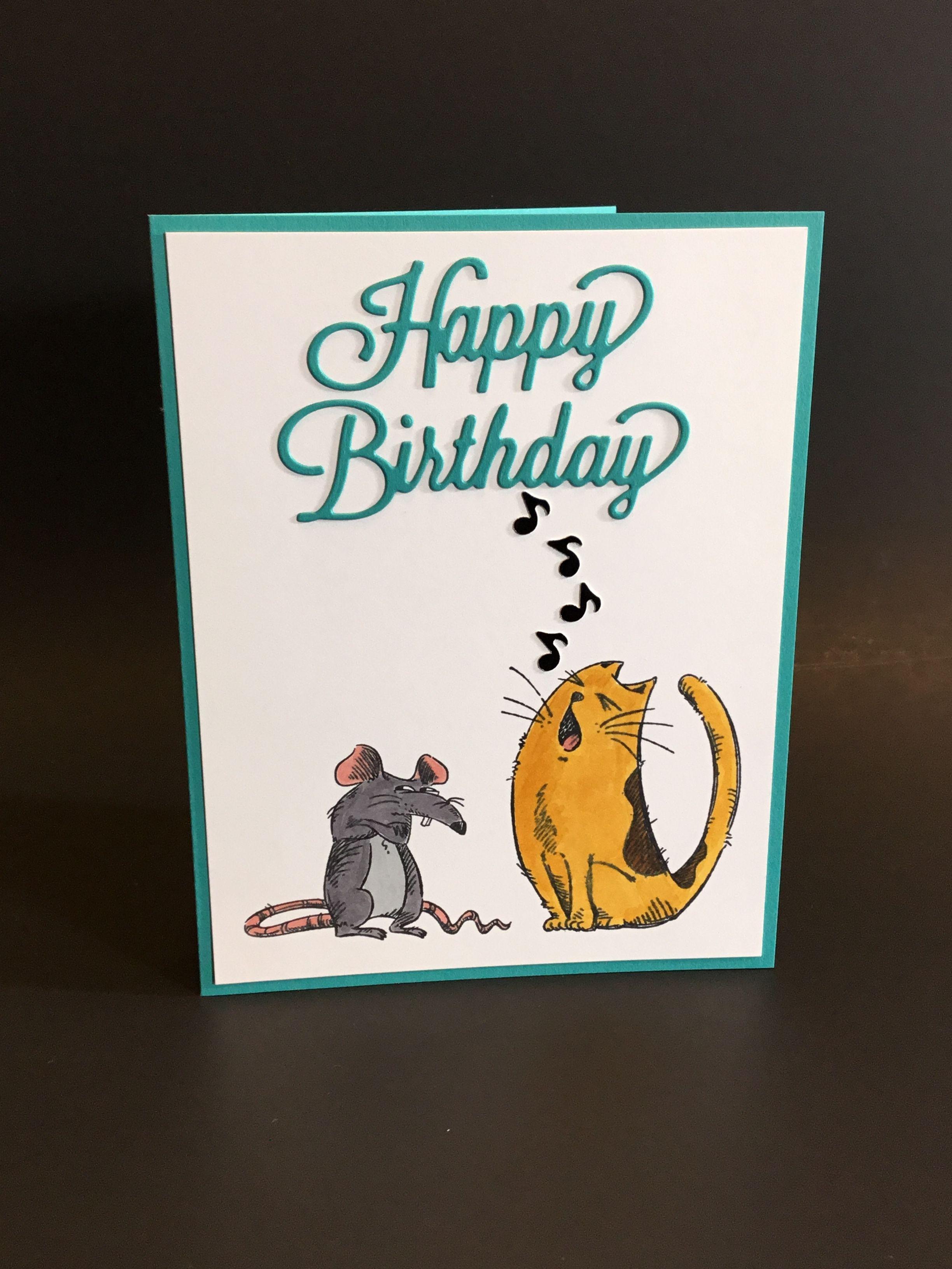 handmade birthday cat card with katzelkraft les rats des