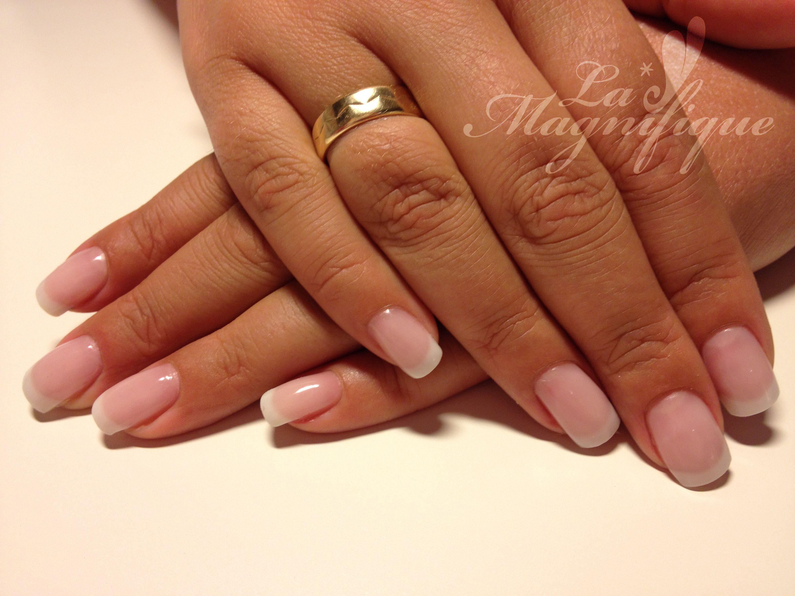 Brisa Gel Warm Pink & Soft White... | Nails in 2019 | Gel Nails ...