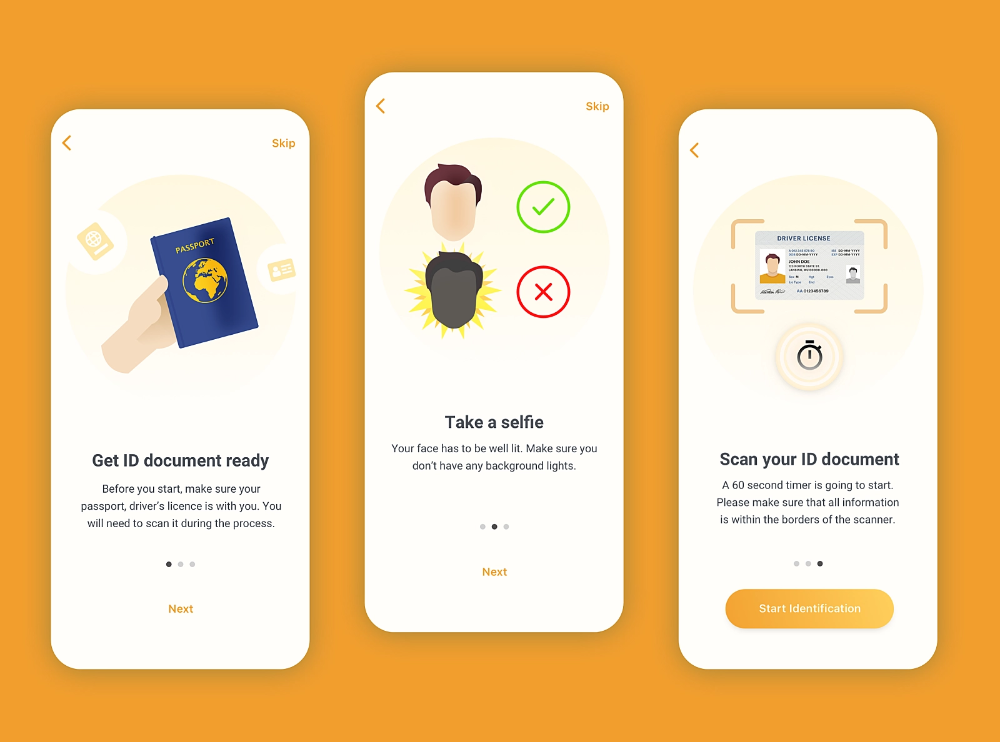 Onboarding Screens Identity Verification App Identity