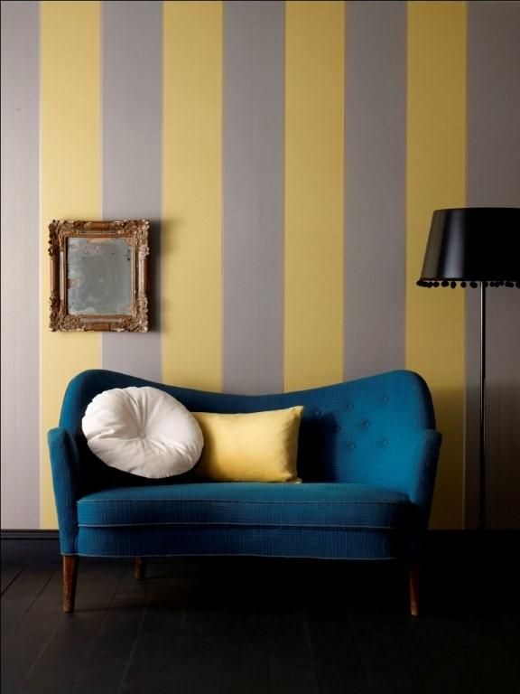 YELLOW & GRAY STRIPES  Possibility for new baby's room... not sure, but maybe.... #graystripedwalls