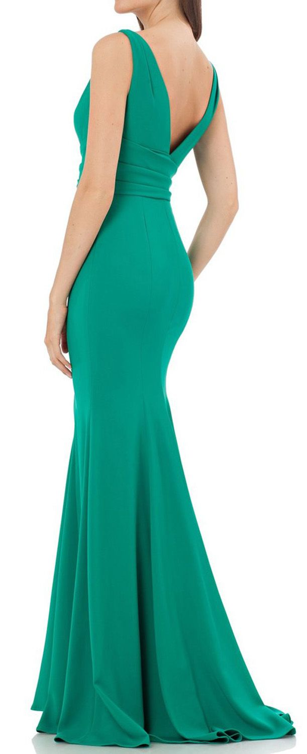 Mermaid straps v neck jersey turquoise evening gown simple prom