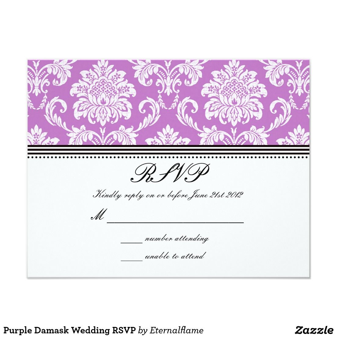 Purple Damask Wedding RSVP | Rsvp, Damask wedding and Wedding rsvp