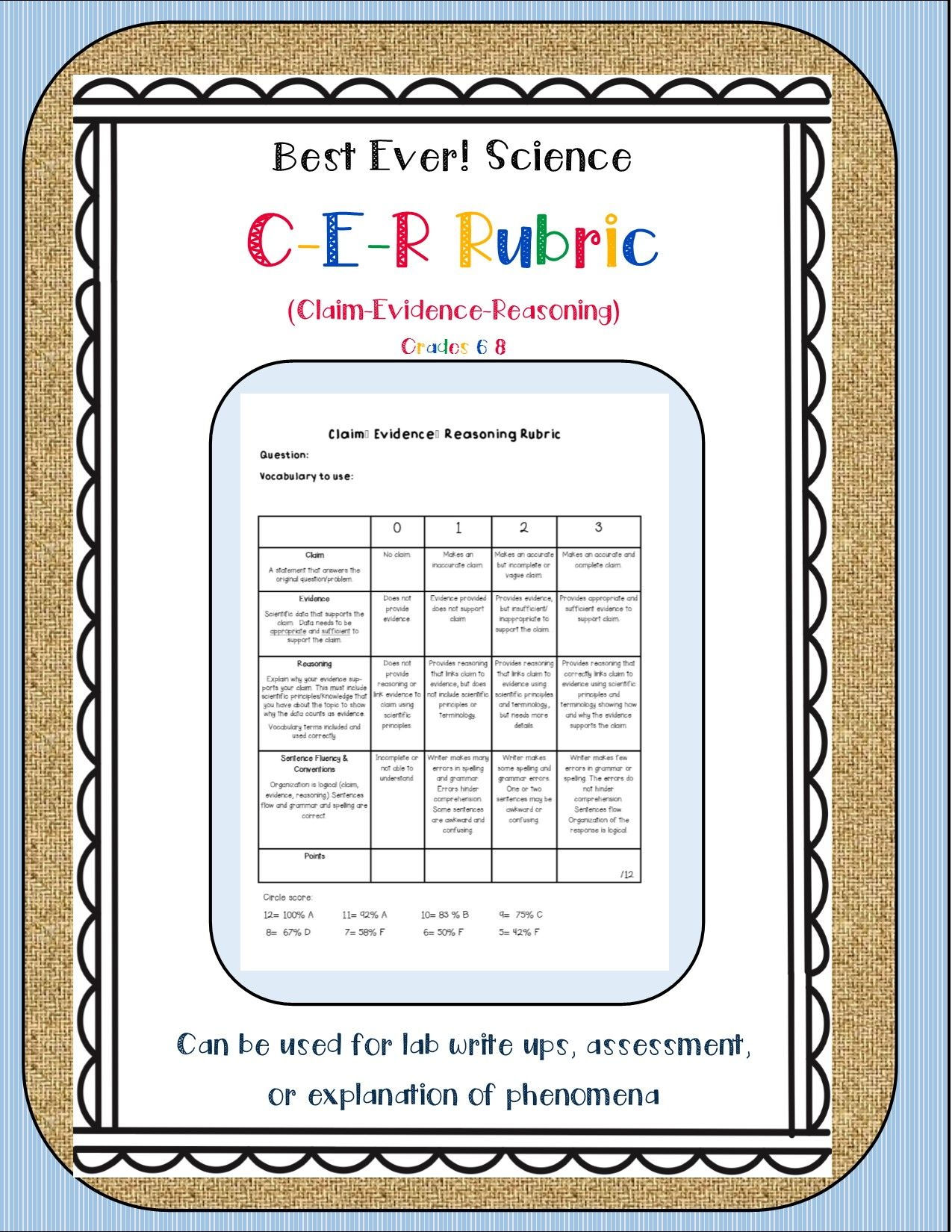 Best Science Cer Rubric Ever Editable Page Included