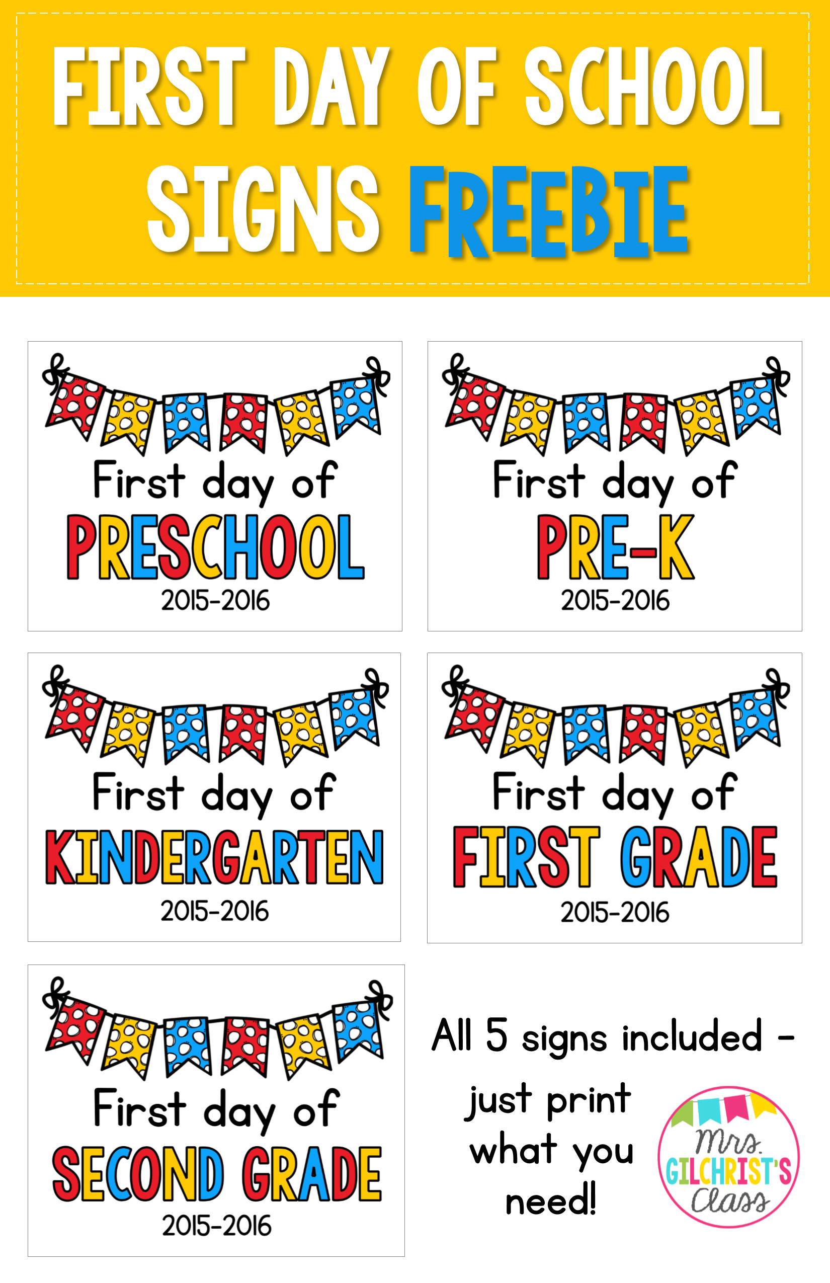 Free First Day Of School Signs Includes Preschool Pre K Kindergarten First Grade And Second Grade School Signs Kindergarten First Day Preschool First Day