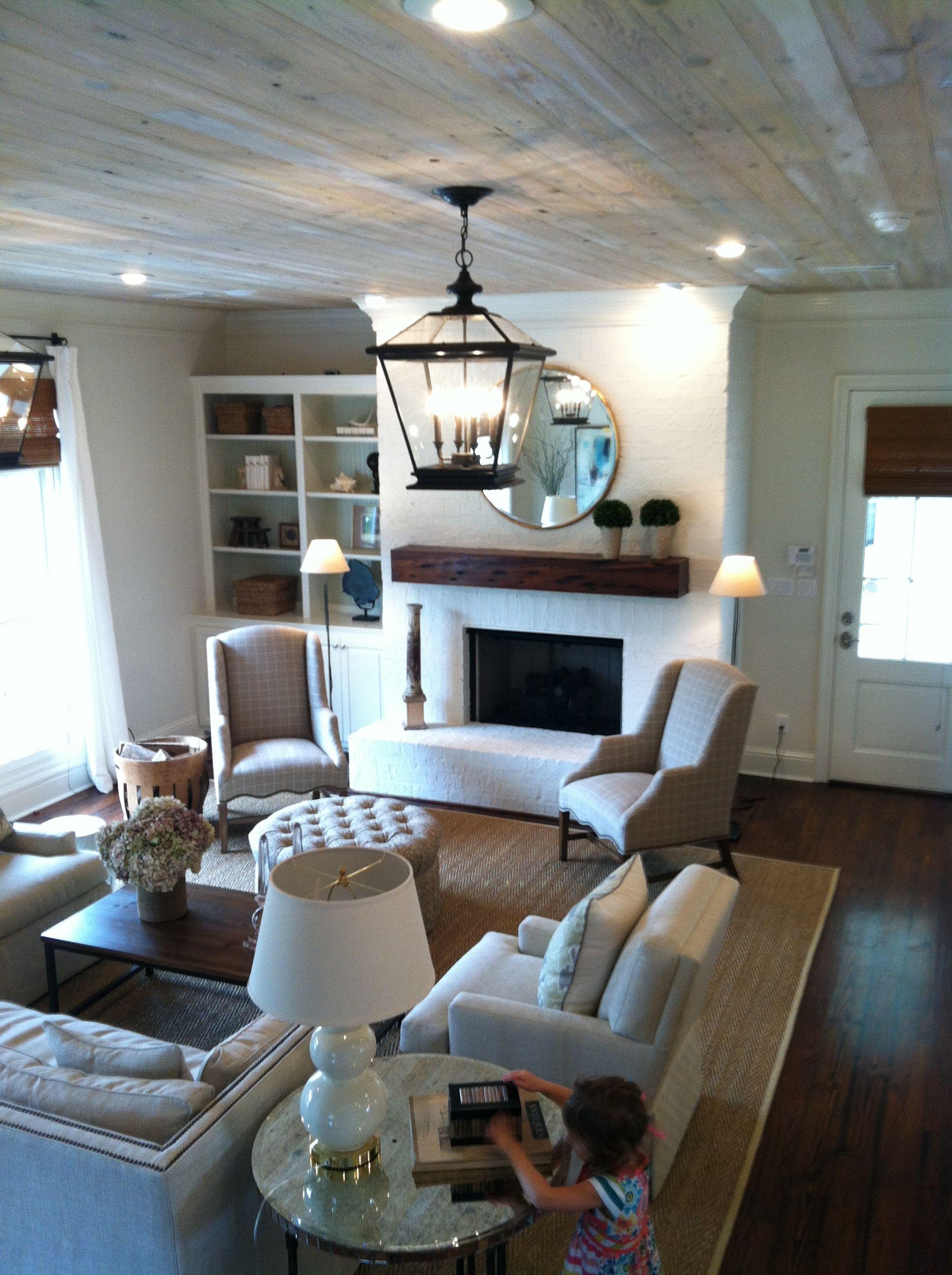 DR Horton Homes, Long Farm; wood ceiling, white brick ...