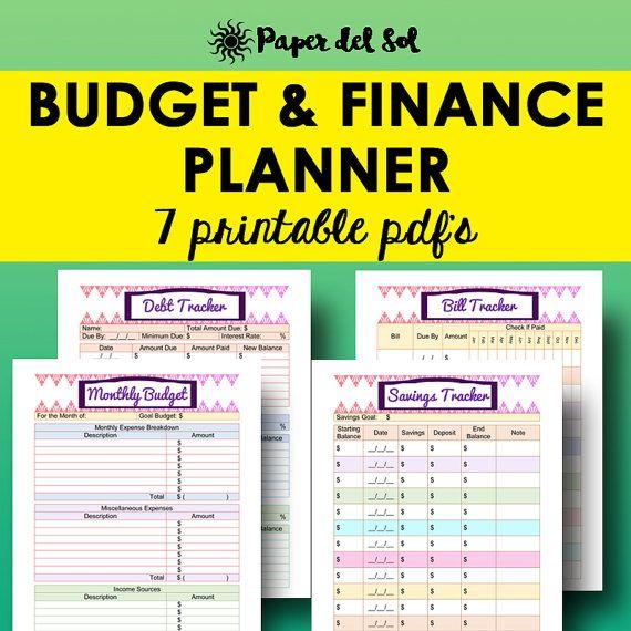 Budget And Finance Planner Printable, Bill Tracker, Debt