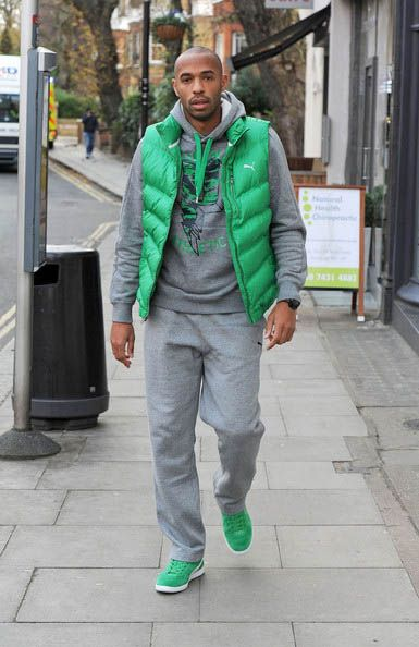 94b4ddb91b9 Thierry Henry goes green in a vest and classic suedes  thierry  henry  PUMA