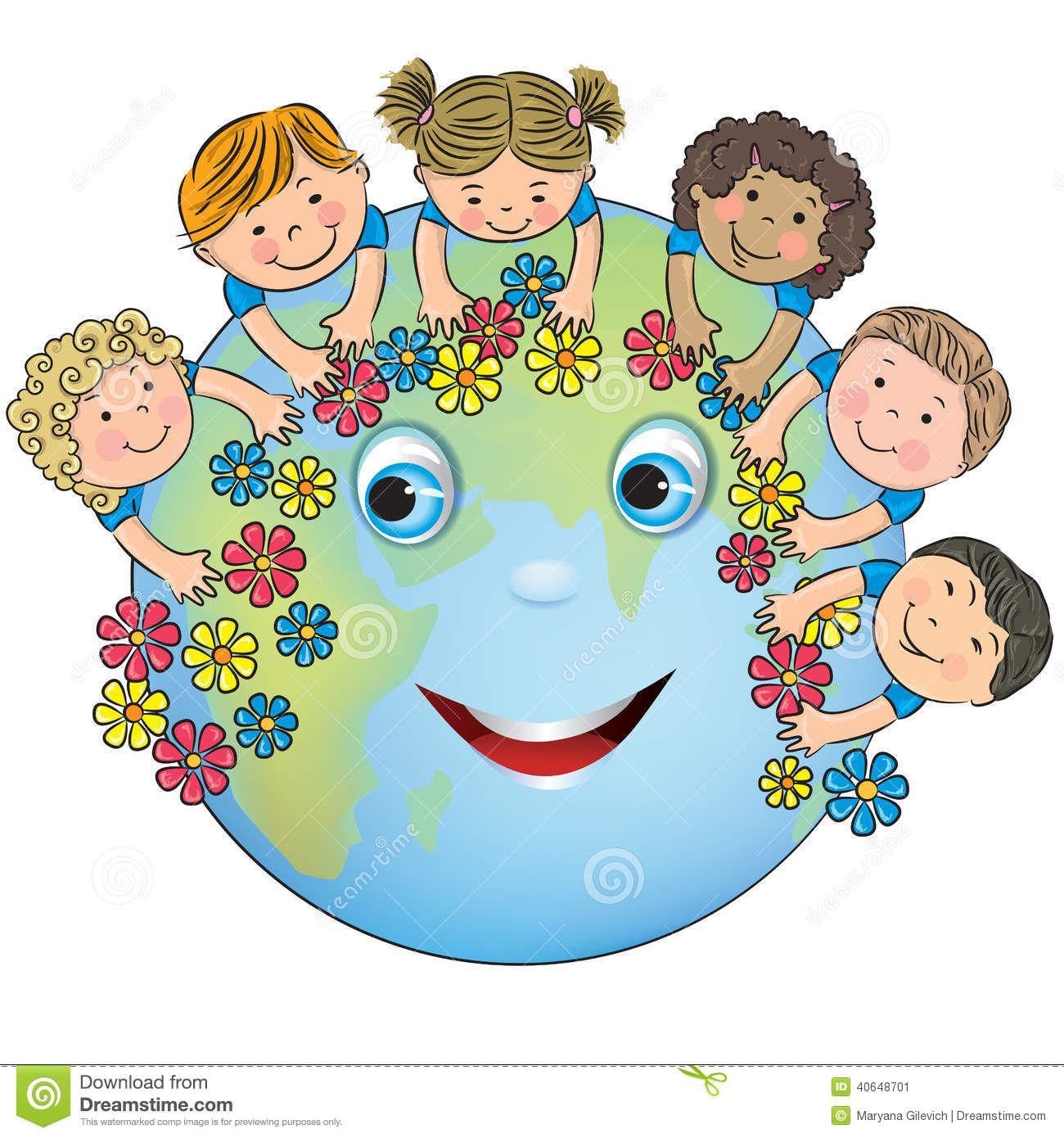 Planet kid. Children hugging earth stock