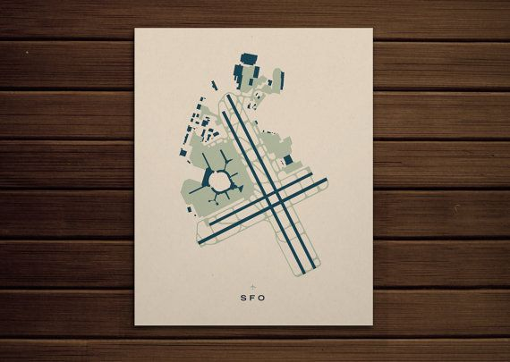 SFO San Francisco International Airport by AirportPrints on Etsy, $25.00