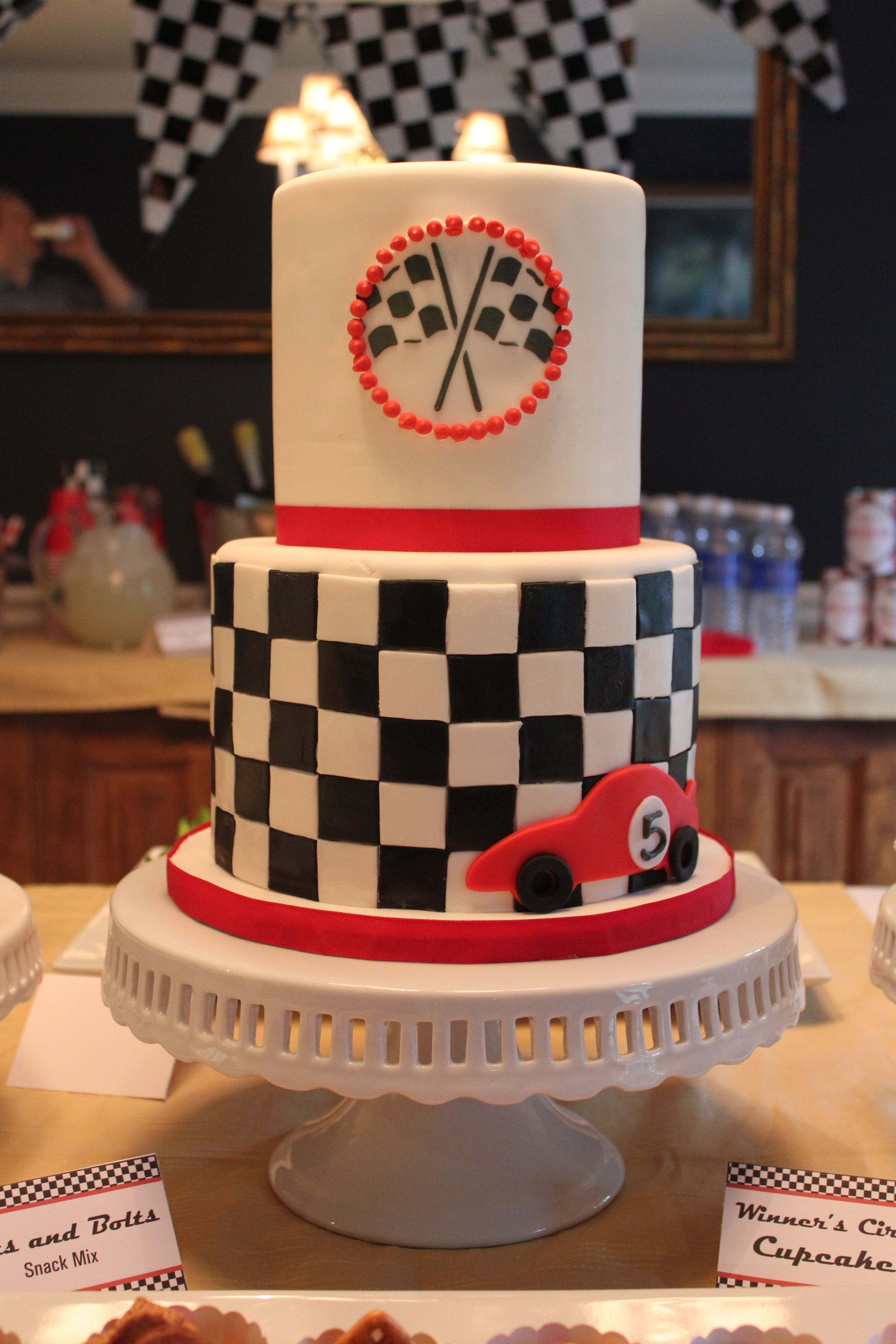 Race Car And Checkered Flag Cake For A Race Car Fifth