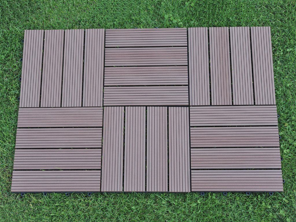 Amazon Com Abba Patio Outdoor Living 12 X 12 Inch Composite Interlocking Decking Tile With Parallel Design 6 Pack With Images Interlocking Deck Tiles Deck Tile Outdoor