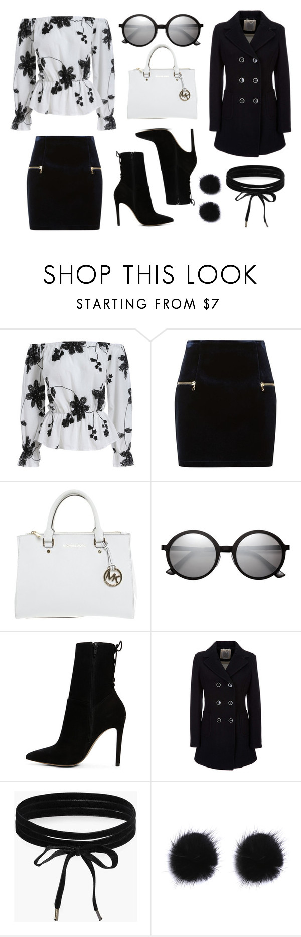 """""""Classy B&W"""" by lucya-knight ❤ liked on Polyvore featuring Sandro, Michael Kors, H&M, ALDO, Geox and Boohoo"""