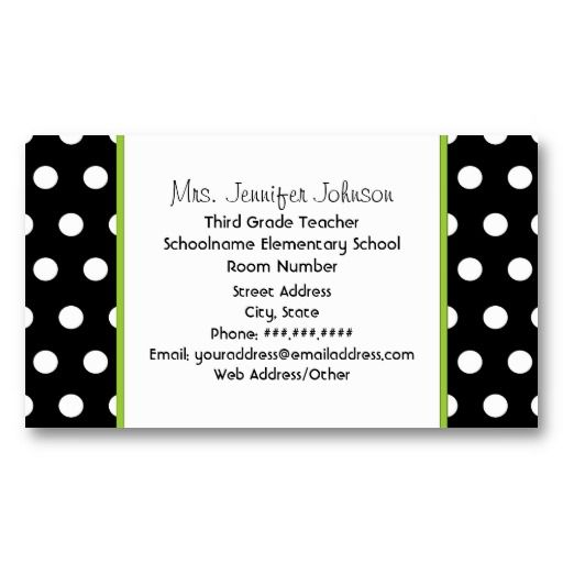 Teacher Green Apple Black With White Polka Dots Business Card Zazzle Com Green Apple Business Cards Cards