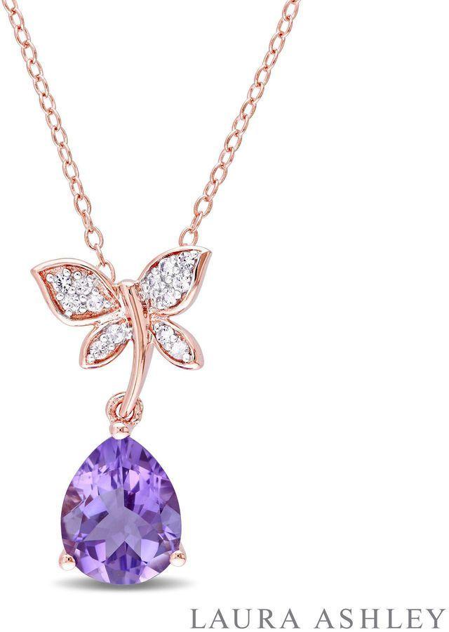 Fine Jewelry Womens Purple Amethyst Gold Over Silver Pendant Necklace RJ6RO