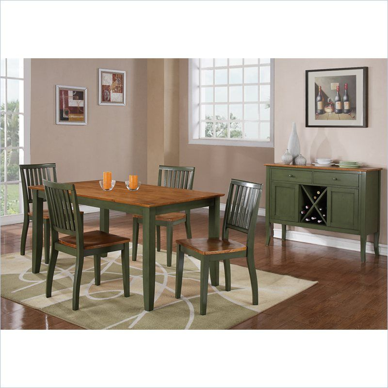Good Steve Silver Company Candice 5 Piece Rectangular Dining Table Set In Oak  And Green