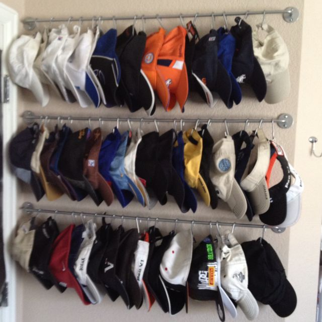 This Is How I Organized My Son S Hat Collection All Items Are From Ikea And The Total Cost Was Around 15 To Hang 50 Hats Hat Storage Hat Organization Diy Hat Rack
