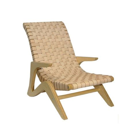Jose Zanine Caldas, Brazil  Chaise lounge in plywood with webbed leather seat.