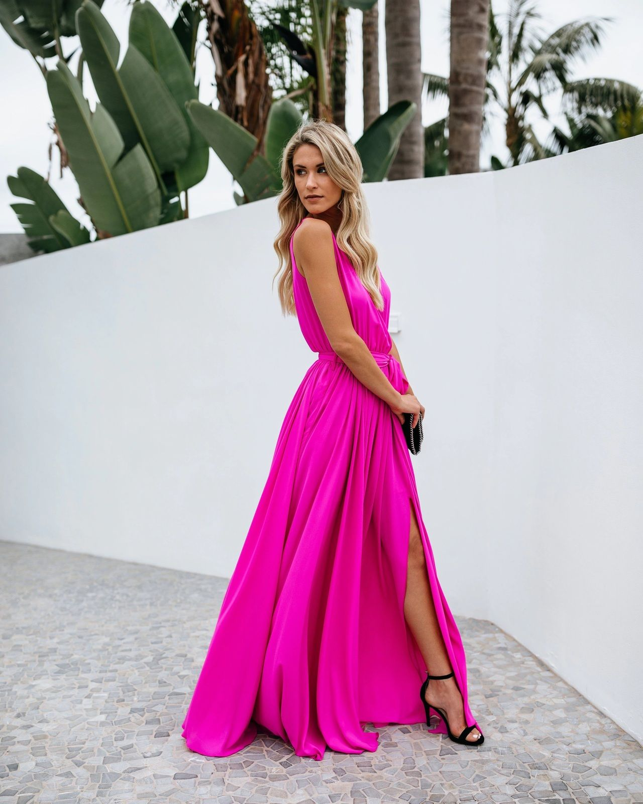 Click On The Photo To Shop This Beautiful Pink Maxi Dress New Fuchsia Pink V Neck Belt Women M Elegant Summer Dresses Spring Dresses Casual Beach Maxi Dress [ 1600 x 1280 Pixel ]
