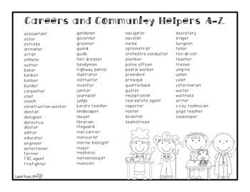 Community Helpers A Z Book Careers A Z Easel Activity Distance Learning Community Helpers Community Helpers Preschool Z Book