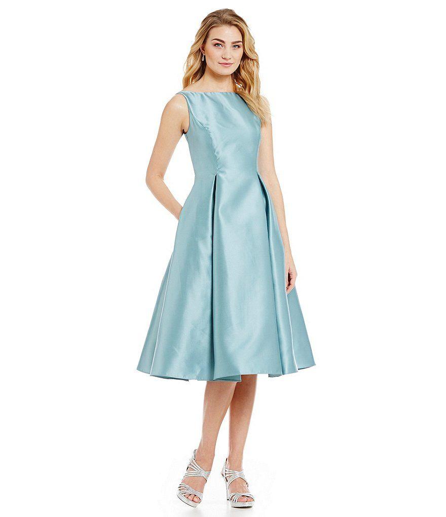 Frost:Adrianna Papell Sleeveless Midi Taffeta Dress $120 AP Mikado ...