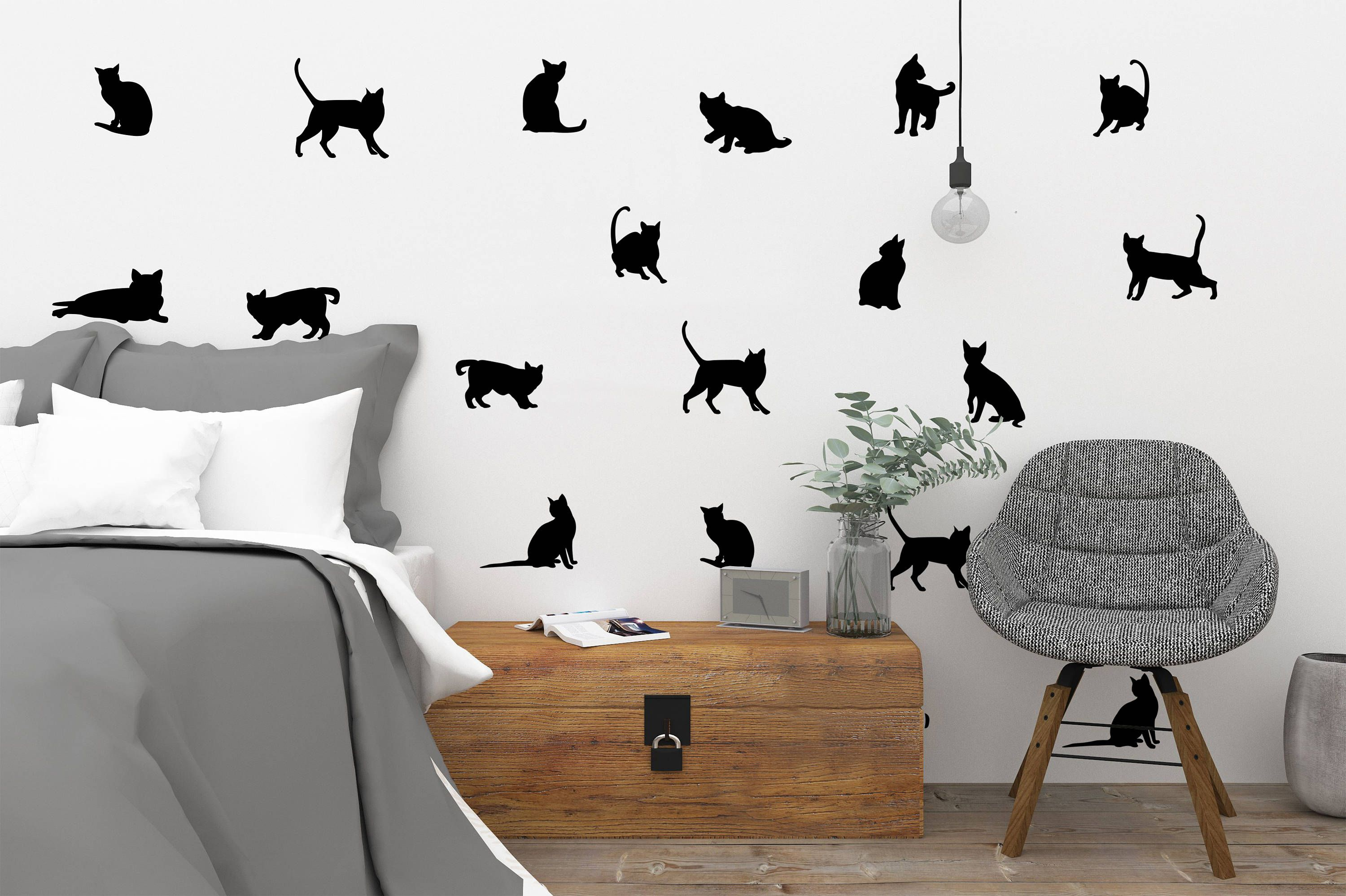 Balck Cats Wall DecalsKitty Wall DecalCats StickersCats - Vinyl decal cat pinterest