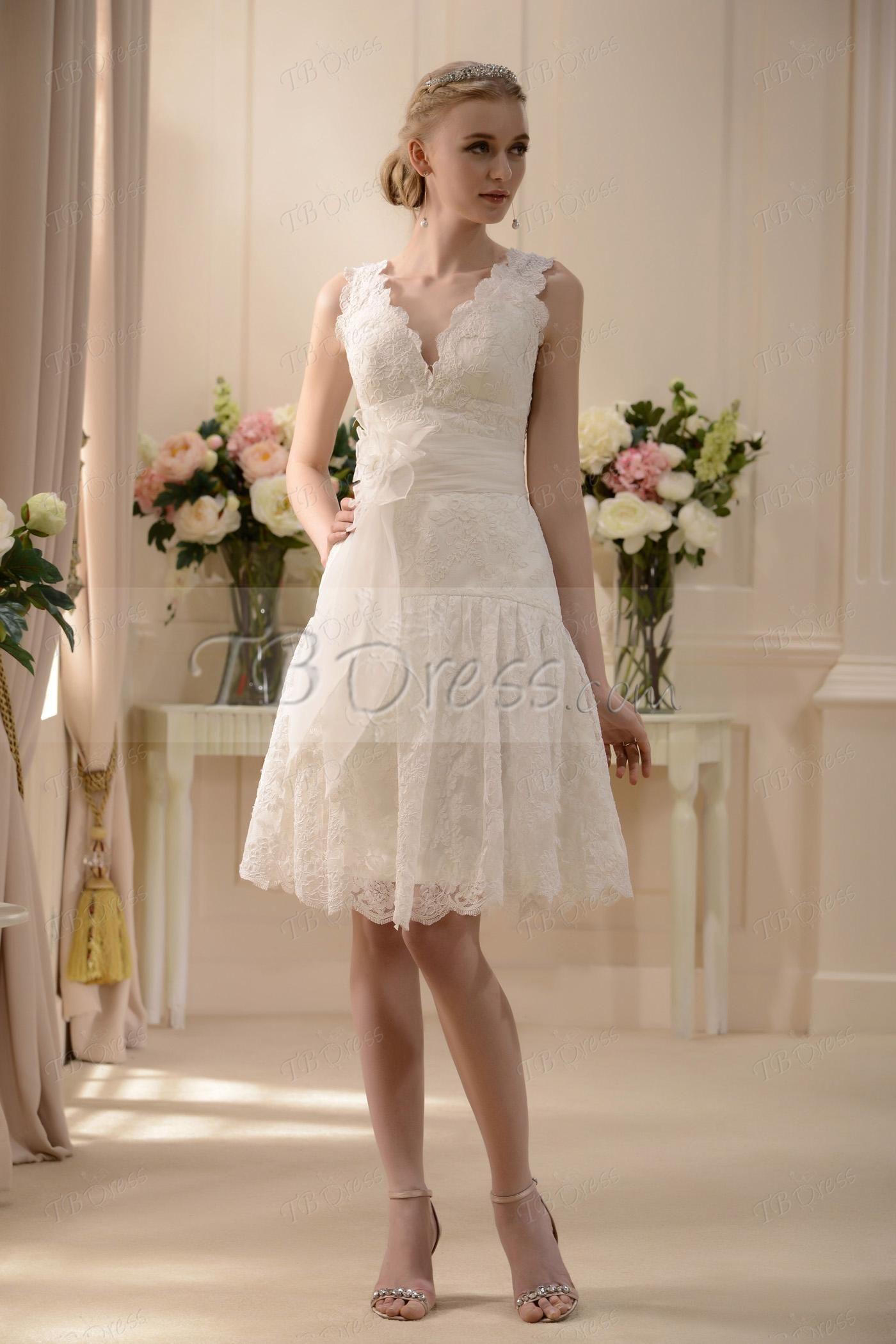 Vneck kneelength sash lace short wedding dress lace wedding