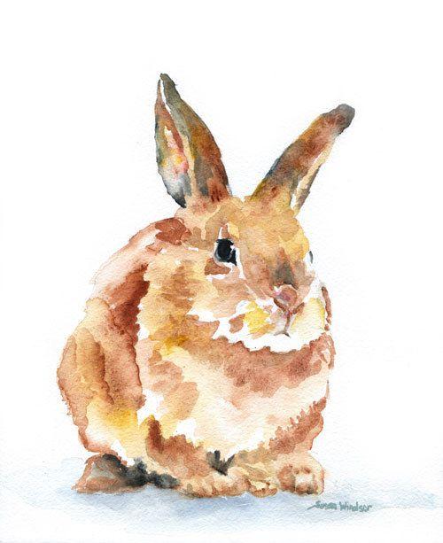 Watercolor Painting Bunny Rabbit Giclee Print 8x10. $16.00, via Etsy.