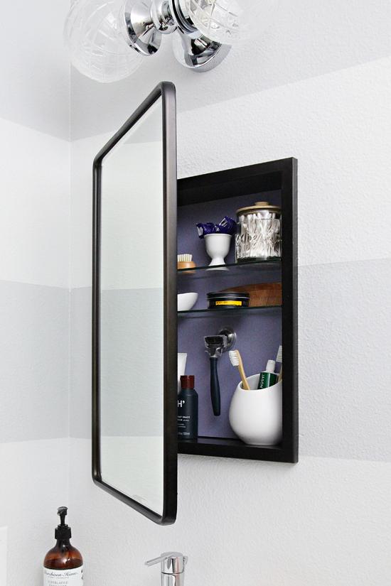 Iheart Organizing Space Saving Storage With An Organized Medicine Cabinet Bathroom Mirror Storage Bathroom Mirror Design Bathroom Mirror Cabinet