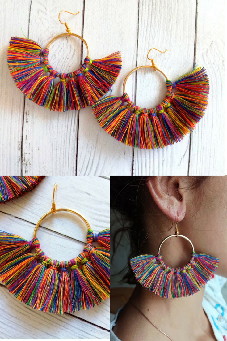 2d942849a Hoop tassel earrings Rainbow fringe cotton Multicolored dangle earrings 18K  Gold hooks Bright summer boho tassel Fluffy thread earring Drop Ask a  question ...