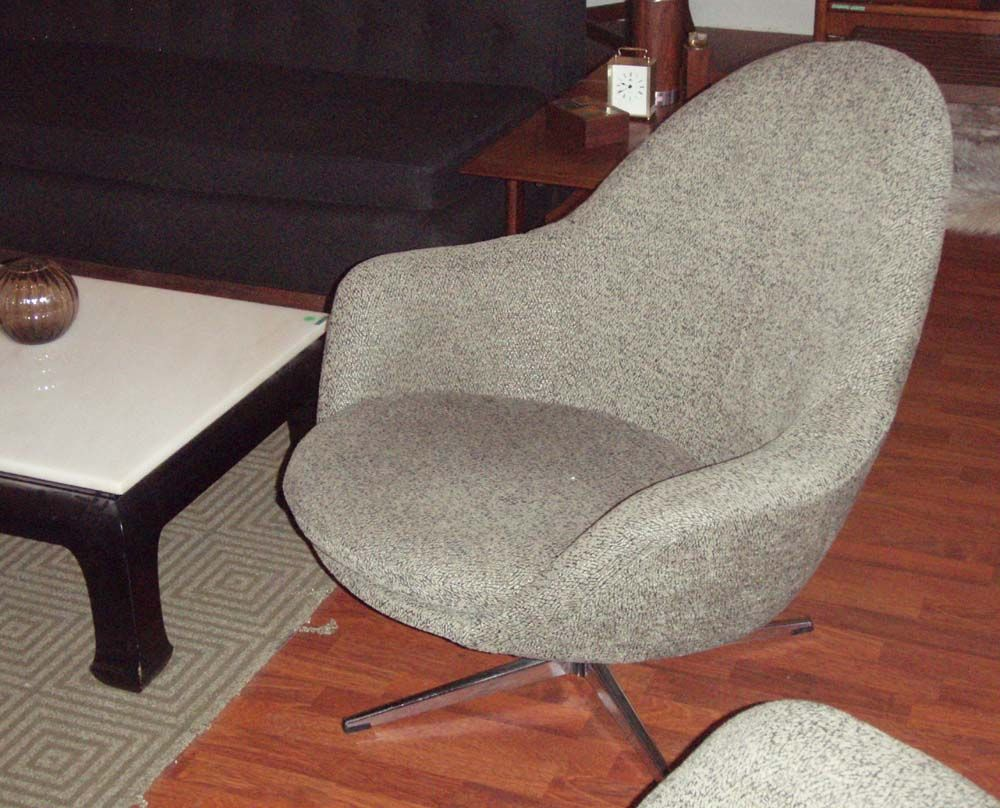 Pair of mid century modern meets mod-lounge chair, made in Sweden by Overman company has chrome swivel feature, upholstered in chenille salt and pepper fabric.Sold!