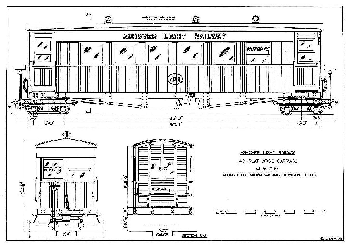 Line drawing of ALR 40-seat bogie carriage No 1 built by the