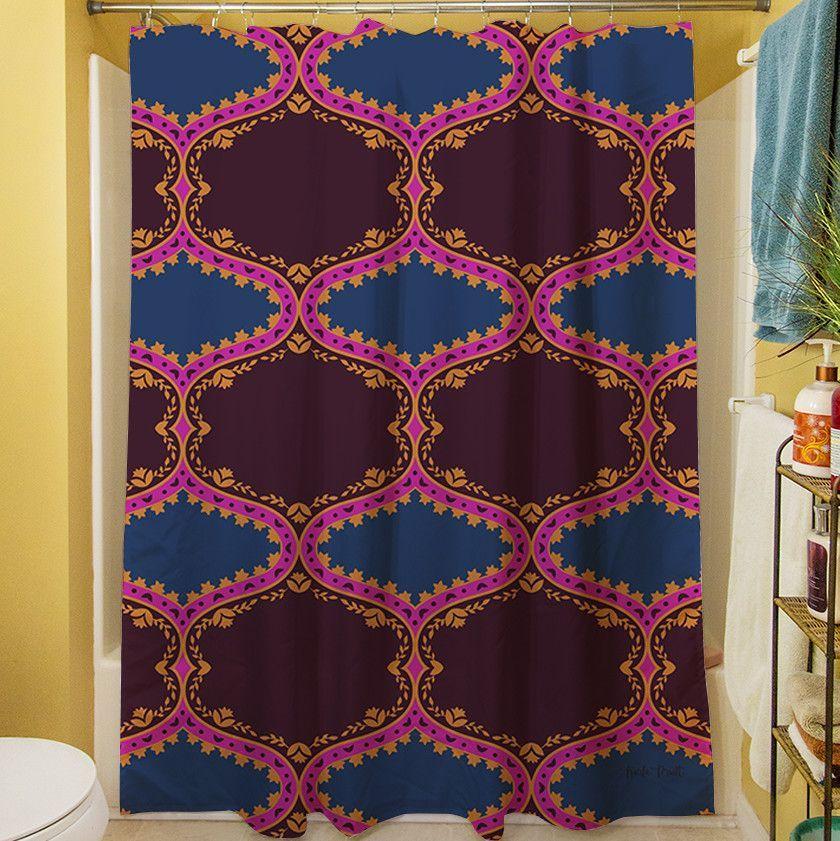 Bird Berries Folk Ogee Shower Curtain