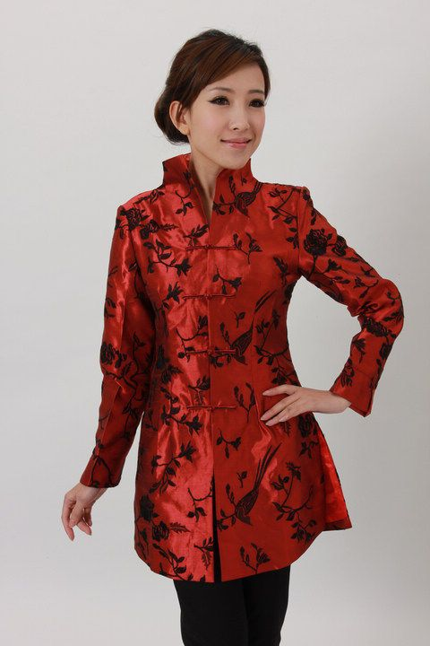1b5af3492 Charming Chinese Women's Silk Jacket Coat Red Sz s M L XL XXL | eBay $35.00
