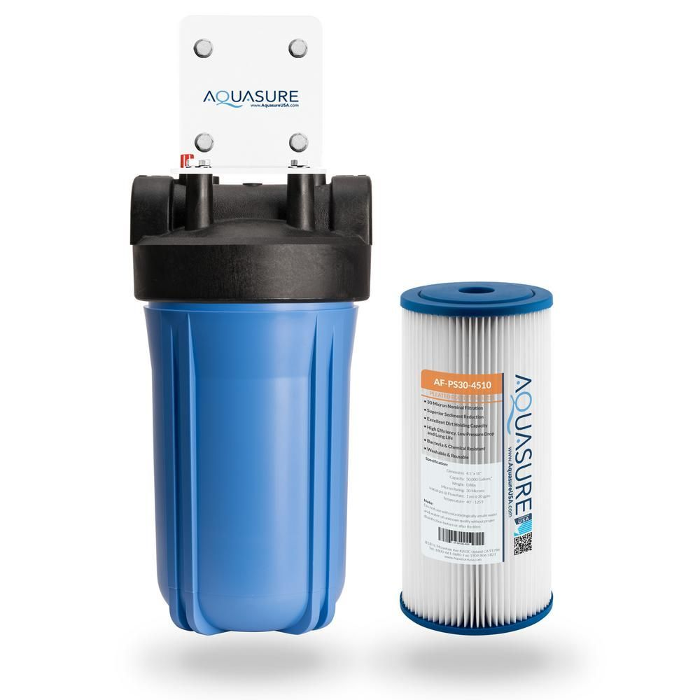 Aquasure Fortitude 30 Micron High Flow Pleated Sediment Whole House Water Filtration System As F110ps In 2020 With Images Water Filtration System Water Filtration Home Water Filtration