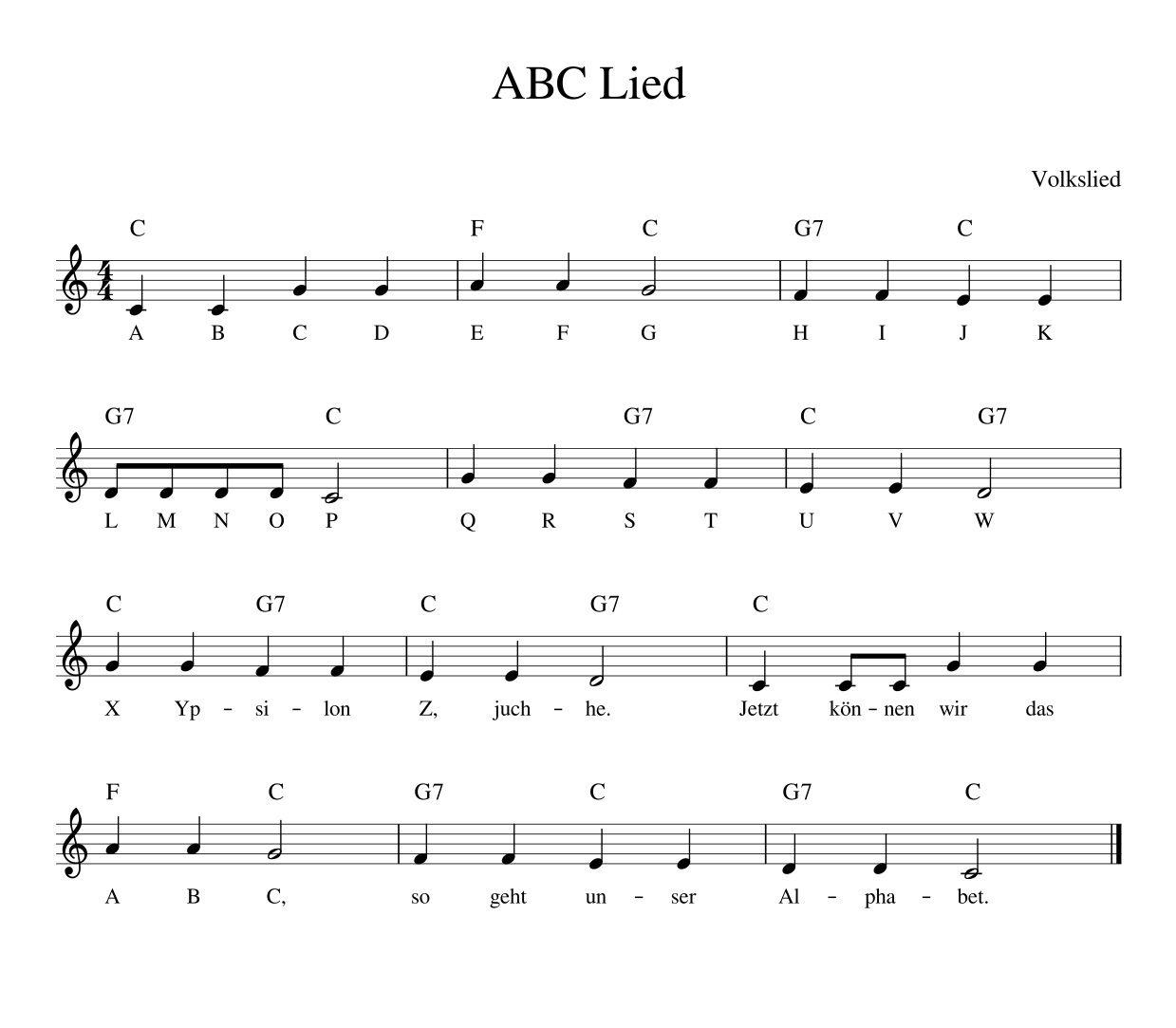 Noten Text Das ABC Lied Das ABC Lied oder Alphabet Lied ist ein Kinderlied, mit … – Kinderlieder von muenchenmedia