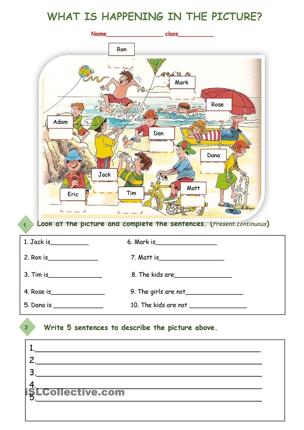 What Is Happening In The Picture English Lessons English Worksheets For Kids Kids English [ 1440 x 1018 Pixel ]