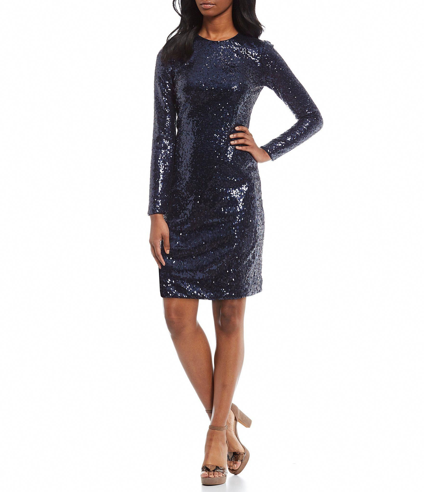 Vince Camuto Long Sleeve Allover Sequined Sheath Dress Navy 2 Longsleevecocktaildresses Long Sleeve Cocktail Dress Pink Sheath Dress Dresses [ 2040 x 1760 Pixel ]