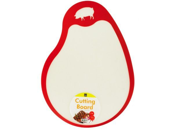 "Meat & Poultry Cutting Board, 96 - Ideal for cutting meats and poultry, this flexible plastic Cutting Board features a convenient shape with a color-coded edge and images of different types of meats to avoid cross-contamination. Measures approximately 16"" x 11.75"" x 6.25"". Comes in assorted styles. Comes loose with a UPC label.-Colors: transparent,brown,yellow,blue,red. Material: plastic. Weight: 0.0997/unit"