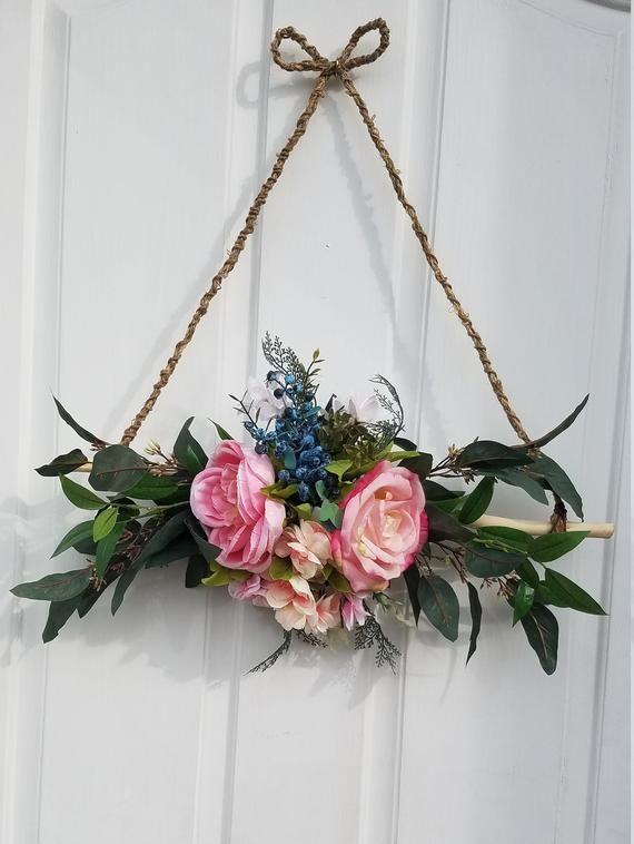 Mini Wreath for Front Door, Triangle Wreath, Rustic Wall Decor