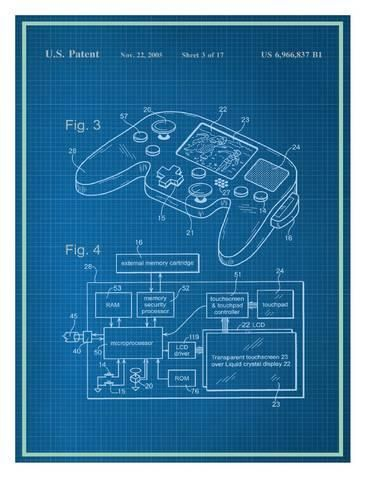 Pin by haylan on booksposters pinterest video game and gaming video game controller blueprint education art print 30 x 41 cm malvernweather Images