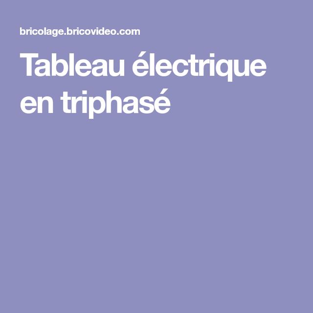 Tableau Electrique En Triphase Tableau Electrique Tableau Electrique Maison Electrique