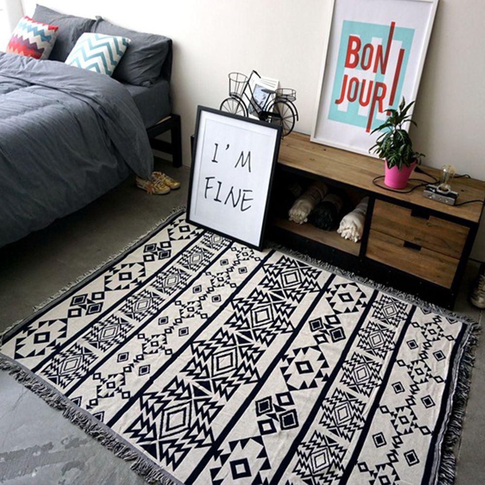 Yazi Black White 100 Cotton Blanket Diffe Two Faced Crochet Thread Throw Sofa Chair