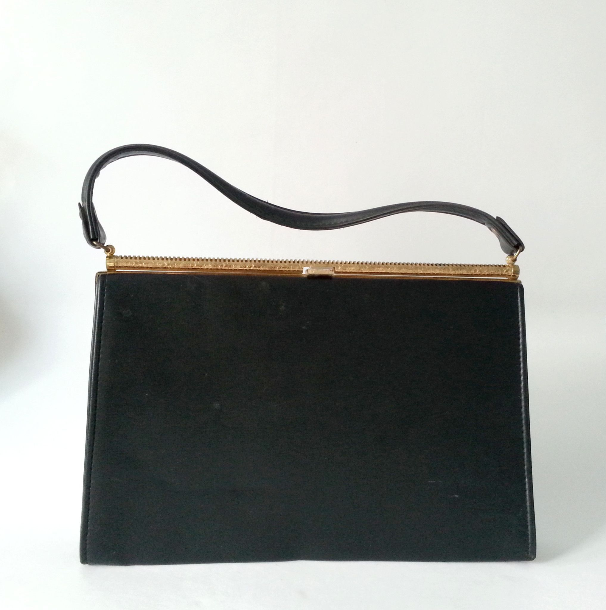 e58f0781485f SALE! 1950s black vintage handbag by Jaclyn. With gold tone metal ...