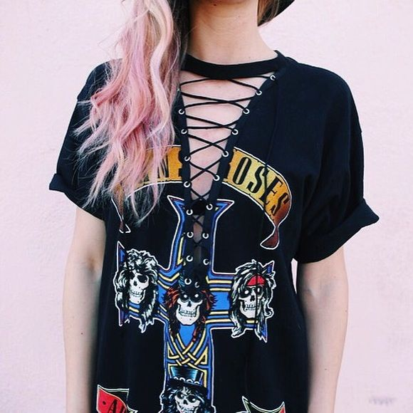 Lace Up Guns N Roses T-Shirt Dress Size Large. Model 5 6. Cotton fabric.  PERFECT for Coachella. Tops Tees - Short Sleeve aca6294ebbd