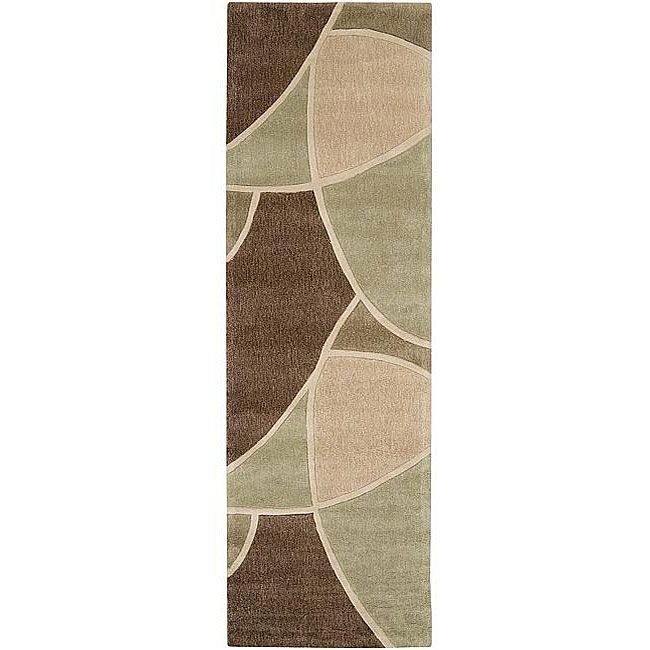 Hand-tufted Contemporary Retro Chic Green Brown/Green Abstract Rug (2'6 x 8'), Size 2'6 x 8'