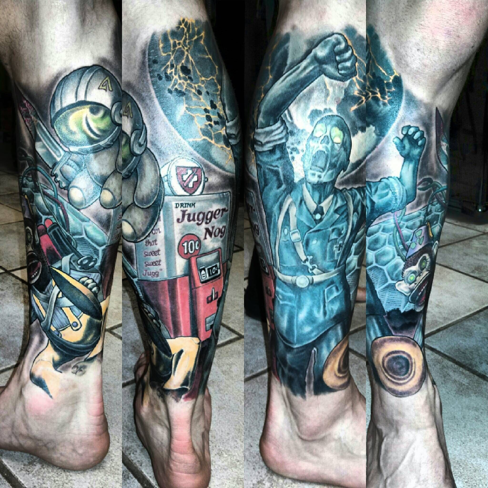 My Cod Zombies Leg Piece Fully Healed Done By Bryan Mozjesik Big Brain Omaha Ne Cool Tattoos Tattoos Zombie Tattoos
