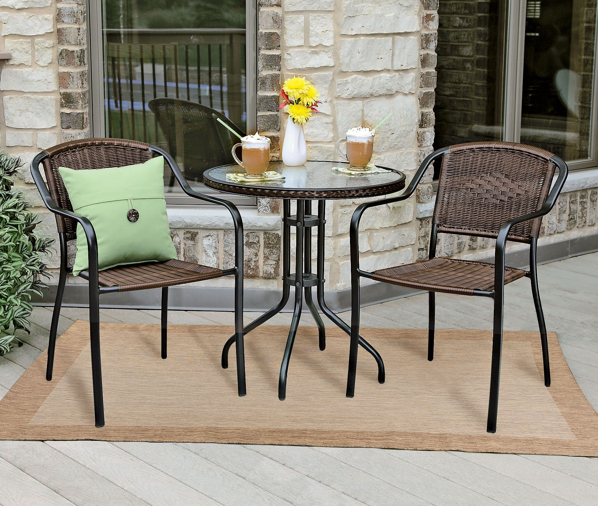 Enjoy Sunny Weather In The Comfort Of This 3 Piece Bistro Set Shopko Stylish Patio Furniture Outdoor Furniture Sets Outdoor Dining Table