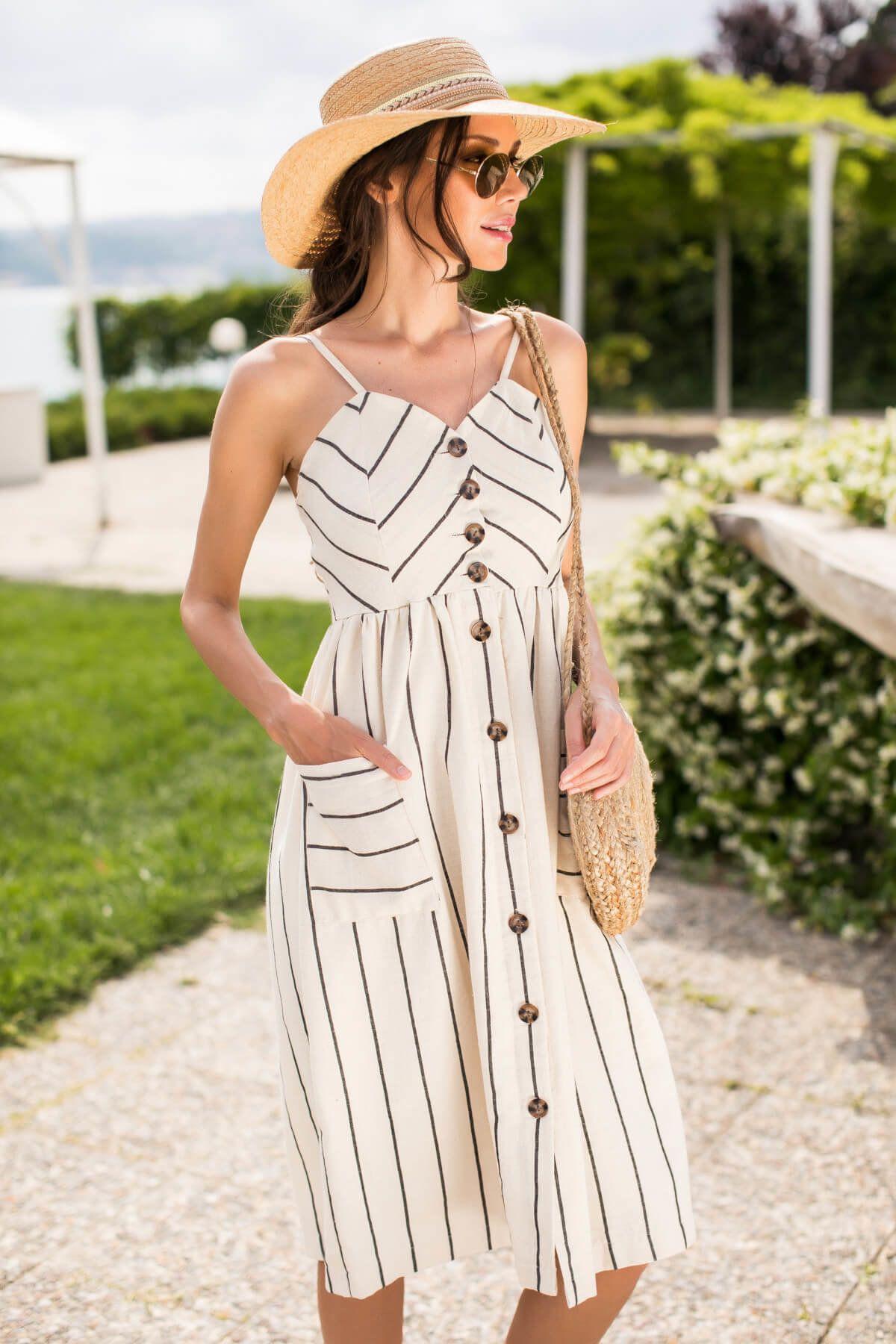 Kadin Bej Askili Dugmeli Keten Elbise Ps00007 Happiness Ist Trendyol Moda Stilleri Elbise Modelleri Elbise